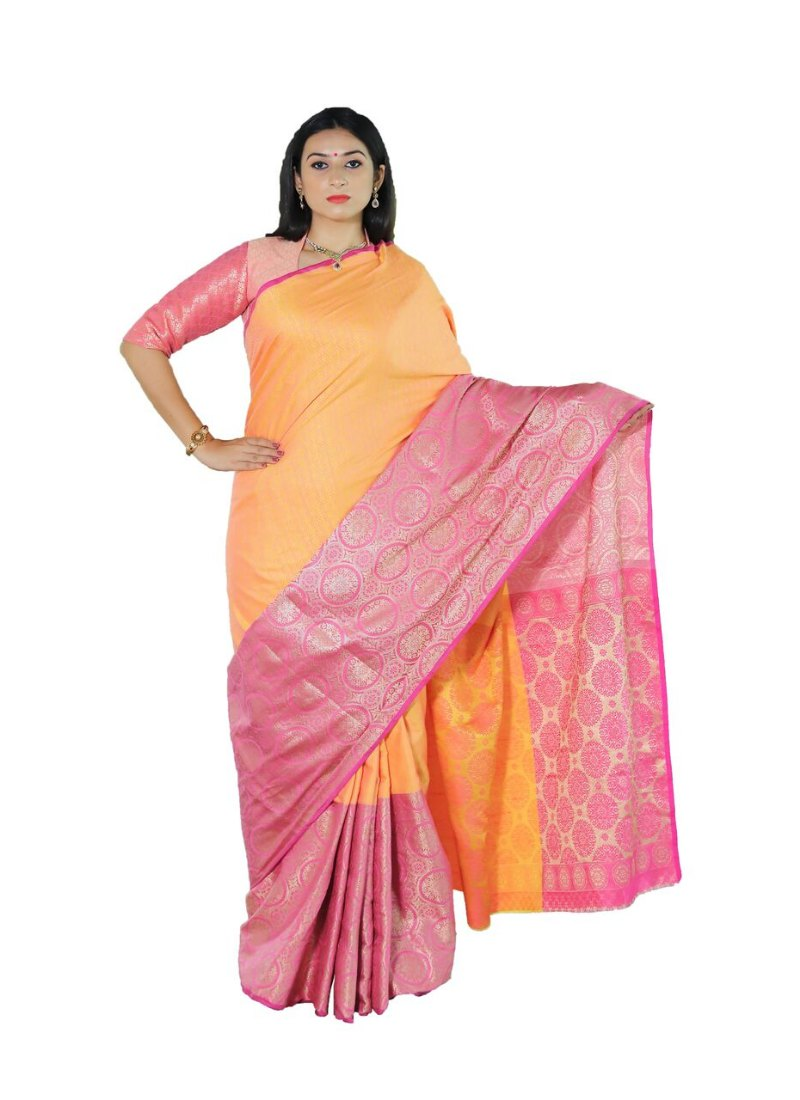 Generic Women's Tanchui Art Silk Saree With Blouse (Mustard, 5-6 Mtrs)