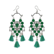 Load image into Gallery viewer, Generic Women's Silver Plated Afgani Tassel Earrings-Green