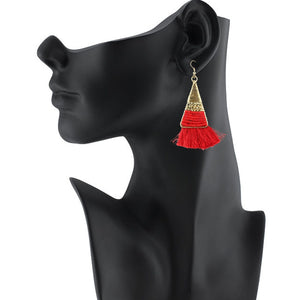 Generic Women's Alloy Hook Dangler Hanging Tassel Earrings-Red