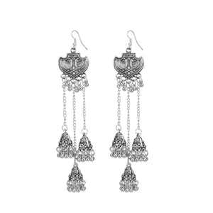 Generic Women's Alloy, silver Plated Afgani Earrings-Silver