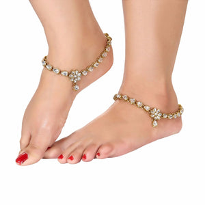 Generic Women's Gold Plated  Anklets-Gold