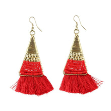 Load image into Gallery viewer, Generic Women's Alloy Hook Dangler Hanging Tassel Earrings-Red