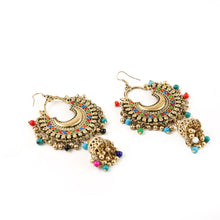 Load image into Gallery viewer, Generic Women's Oxidized Gold plated Hook Dangler Hanging Jhumki Earrings-Multicolour