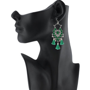 Generic Women's Silver Plated Afgani Tassel Earrings-Green