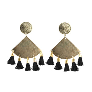 Generic Women's Silver Plated Hook Dangler Hanging Tassel Earrings-Golden