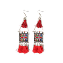 Load image into Gallery viewer, Generic Women's Oxidize Gold plated Hook Dangler Hanging Tassels Earring-Multicolour