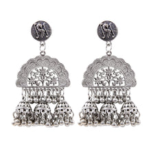 Load image into Gallery viewer, Generic Women's Silver Plated Hook Dangler Hanging Jhumki Earrings-Silver