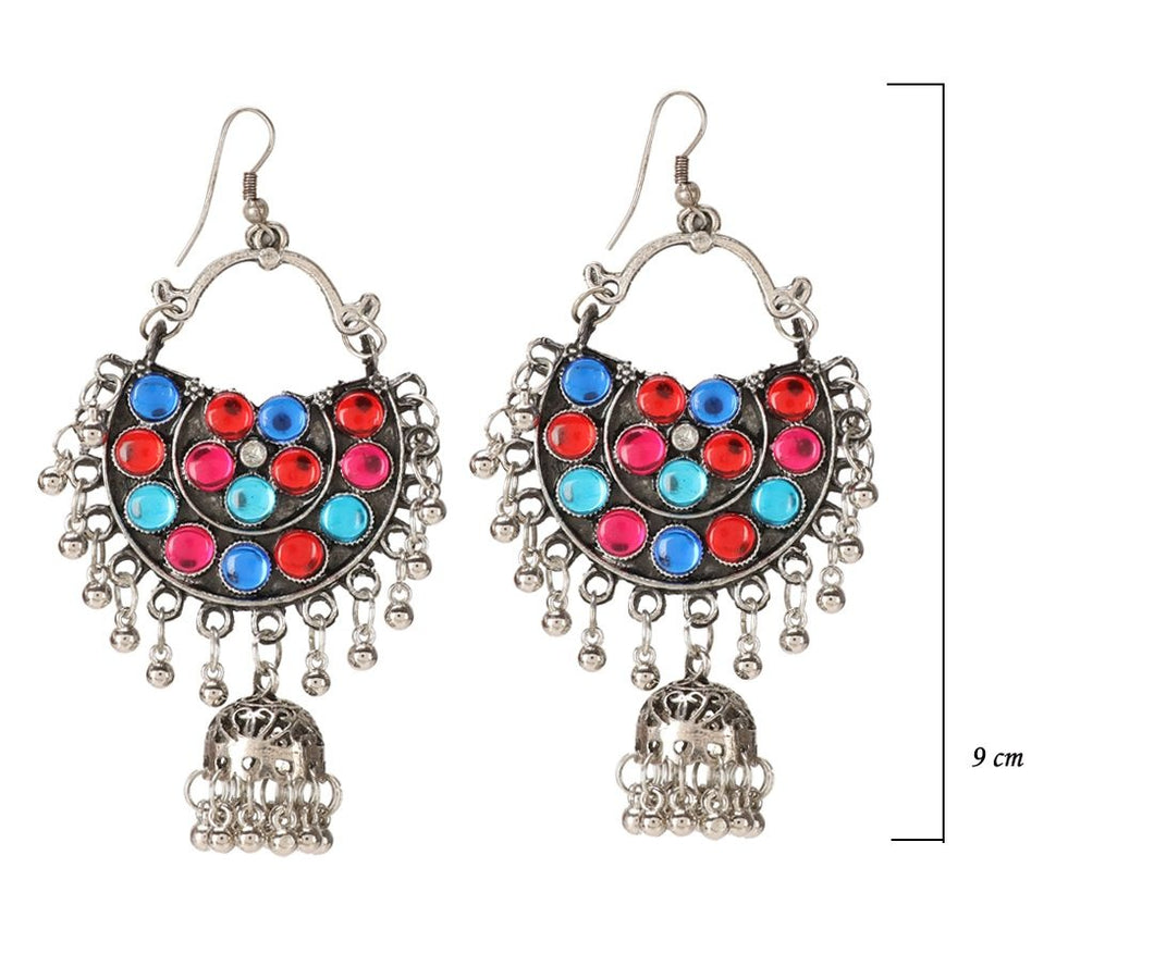 Generic Women's Oxidized Silver plated Hook Dangler Hanging Afgani Earrings-Multi