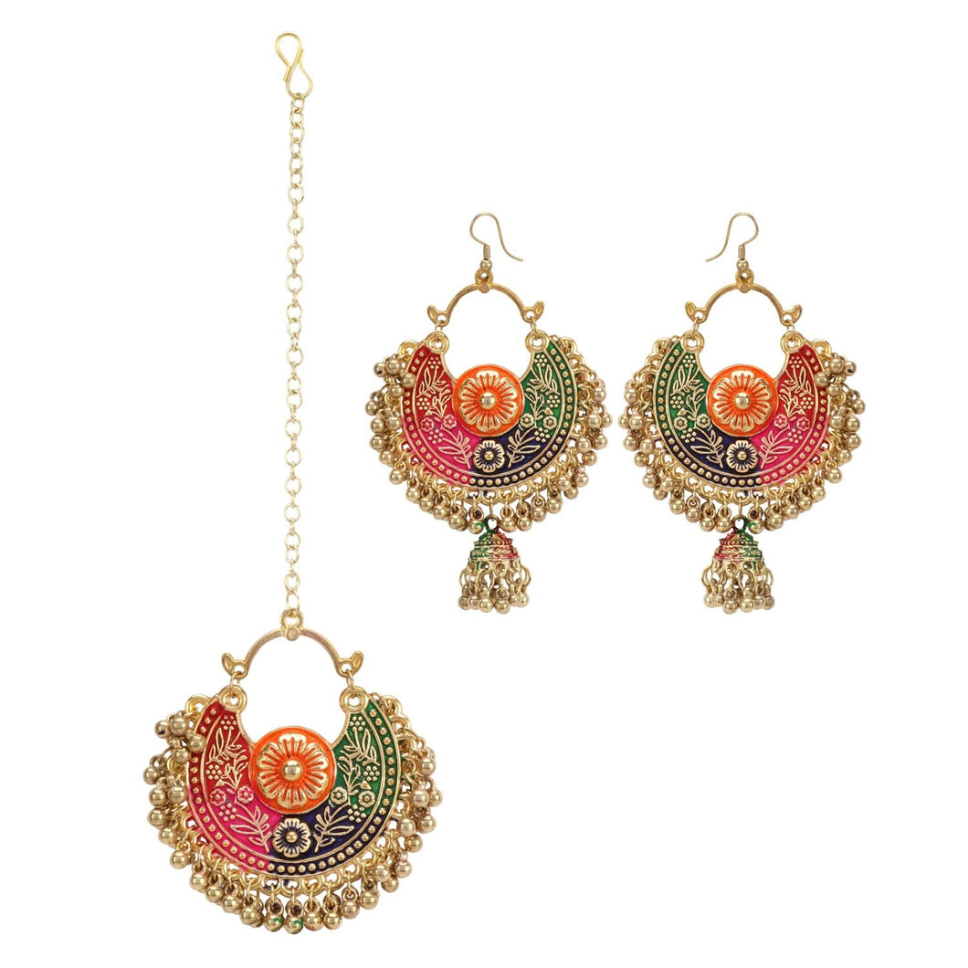 Generic Women's Gold Oxidized Earrings and  Maang Tikka-Multi