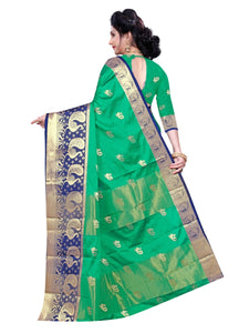 Generic Women's Cotton Silk Saree With Blouse (Green, 5-6 Mtrs)