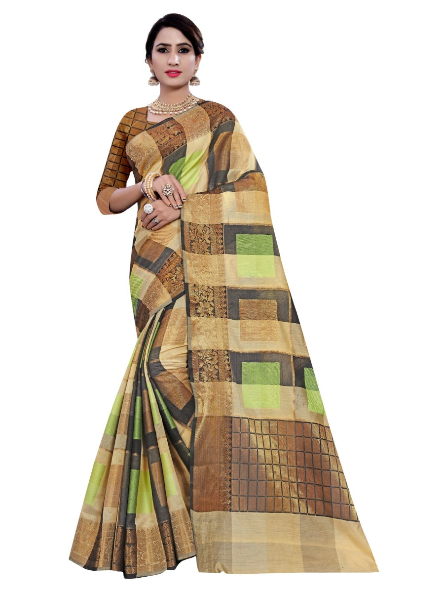 Generic Women's Cotton, Jacqaurd Saree With Blouse (Multi Color, 5-6 Mtrs)