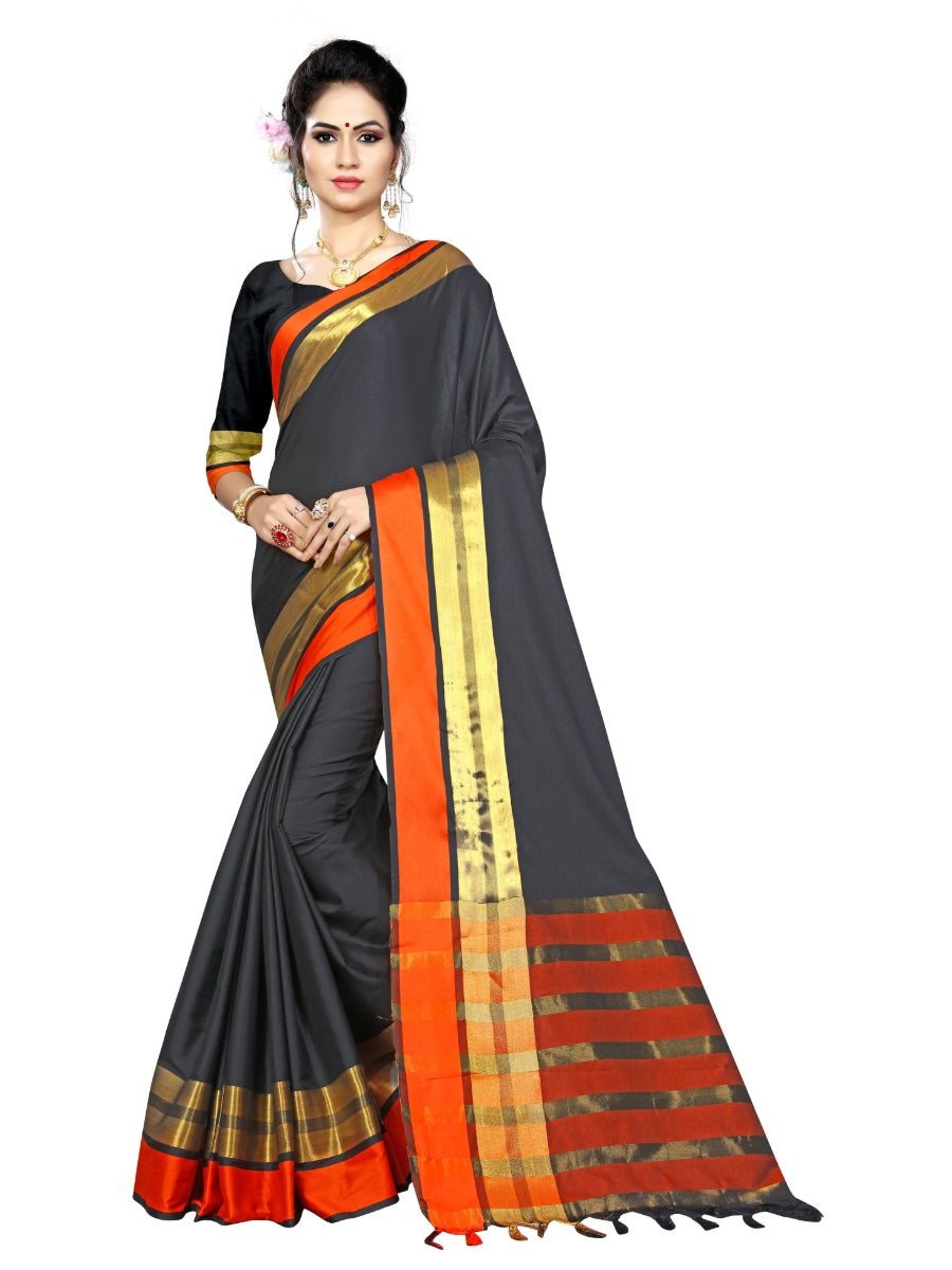 Generic Women's Cotton Blend Saree With Blouse (Black, 5-6 Mtrs)
