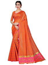 Load image into Gallery viewer, Generic Women's Art Silk Saree With Blouse (Orange, 5-6 Mtrs)