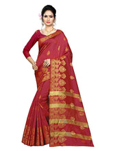 Load image into Gallery viewer, Generic Women's Silk Blend Saree With Blouse (Maroon, 5-6 Mtrs)