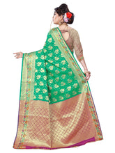 Load image into Gallery viewer, Generic Women's Banarsi Silk Saree With Blouse (Green, 5-6 Mtrs)