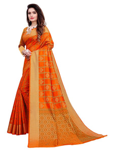 Generic Women's Banarasi Silk Saree With Blouse (Orange, 5-6 Mtrs)
