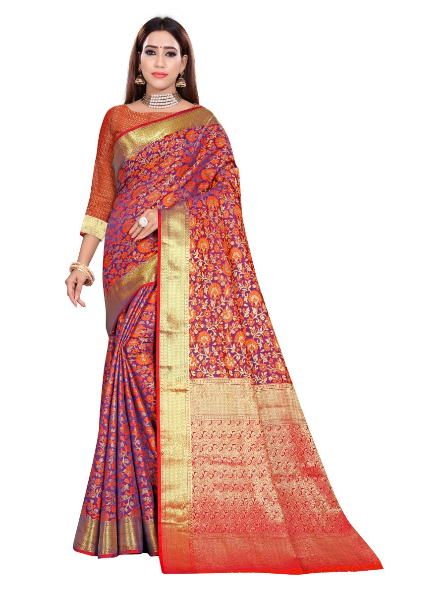Generic Women's Banarasi Silk Saree With Blouse (Multi Color, 5-6 Mtrs)