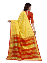 Load image into Gallery viewer, Generic Women's Cotton Saree With Blouse (Yellow, 5-6 Mtrs)