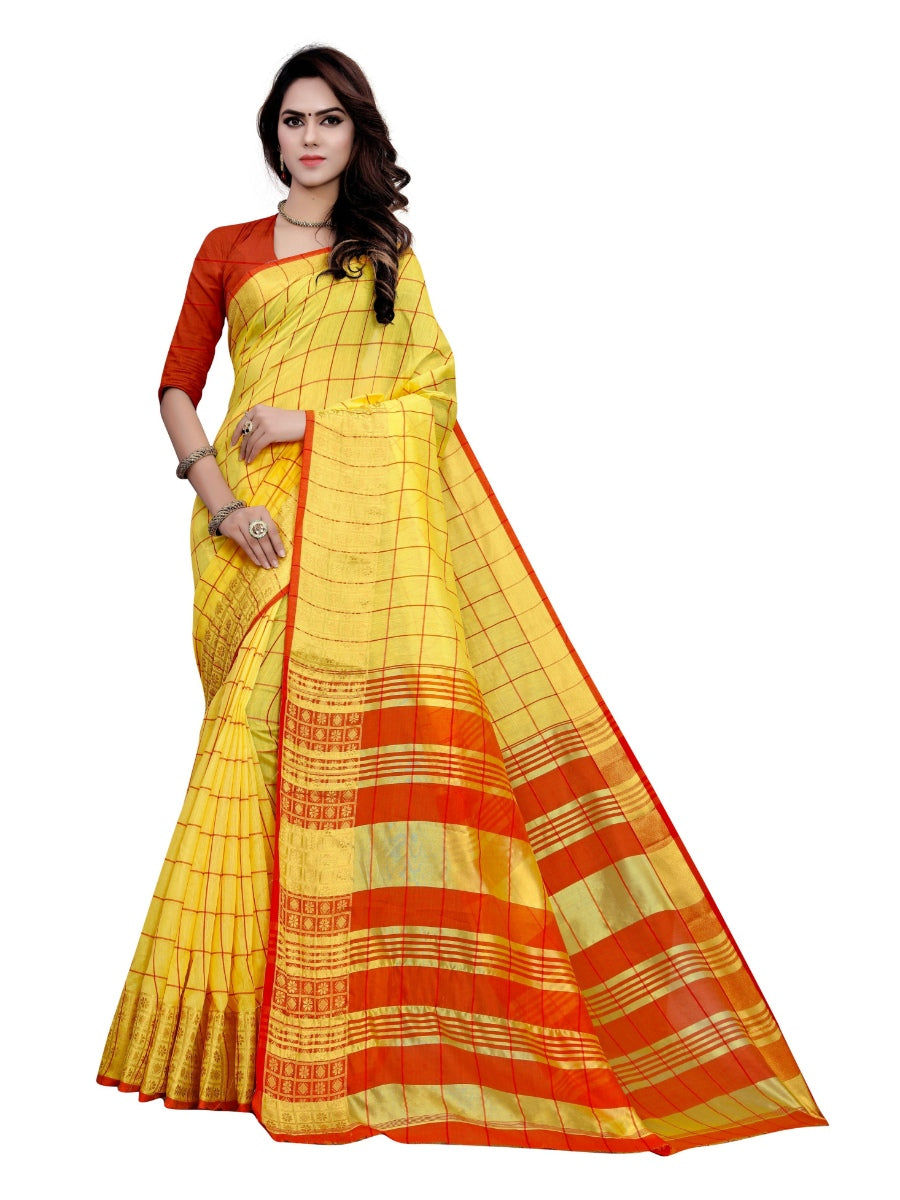 Generic Women's Cotton Saree With Blouse (Yellow, 5-6 Mtrs)