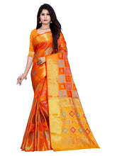 Load image into Gallery viewer, Generic Women's Banarasi Silk Saree With Blouse (Orange, 5-6 Mtrs)