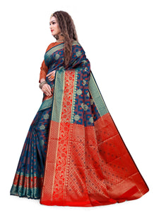 Generic Women's Cotton Silk Jacqaurd Saree With Blouse (Multi Color, 5-6 Mtrs)