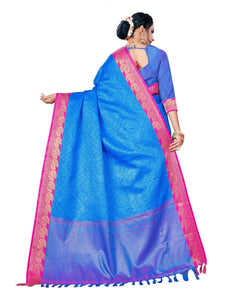 Generic Women's Banarsi Silk Saree With Blouse (Blue, 5-6 Mtrs)