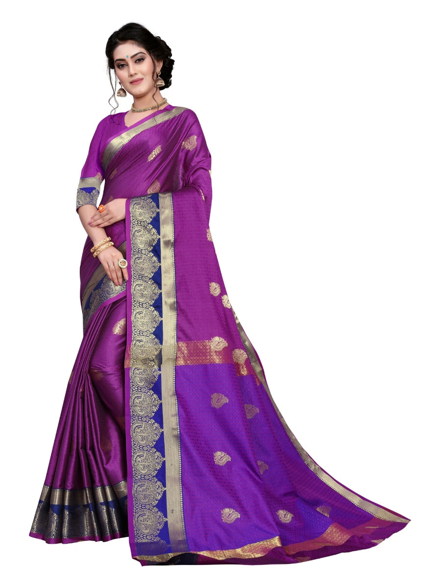 Generic Women's Cotton Silk Saree With Blouse (Magenta, 5-6 Mtrs)