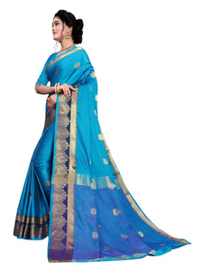 Generic Women's Cotton Silk Saree With Blouse (Blue, 5-6 Mtrs)