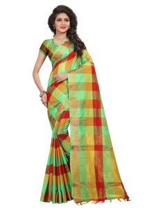 Generic Women's Silk Blend Saree With Blouse (Multi Color, 5-6 Mtrs)