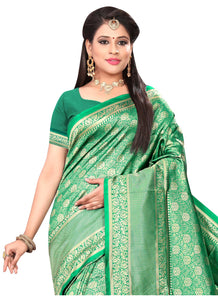 Generic Women's Banarasi silk Saree with Blouse (Green, 5-6mtr)