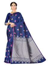 Load image into Gallery viewer, Generic Women's Banarasi silk Saree with Blouse (Navy blue, 5-6mtr)