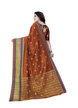 Load image into Gallery viewer, Generic Women's Banarasi silk Saree with Blouse (Orange, 5-6mtr)