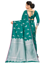Load image into Gallery viewer, Generic Women's Banarasi silk Saree with Blouse (Green, 5-6mtr)