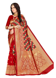 Generic Women's Banarasi silk Saree with Blouse (Multi, 5-6mtr)