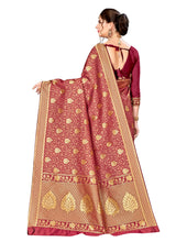 Load image into Gallery viewer, Generic Women's Banarasi silk Saree with Blouse (Maroon, 5-6mtr)