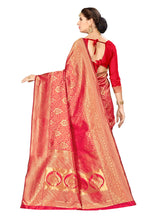Load image into Gallery viewer, Generic Women's Banarasi silk Saree with Blouse (Red, 5-6mtr)