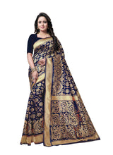 Load image into Gallery viewer, Generic Women's Banarasi silk Saree with Blouse (Blue, 5-6mtr)
