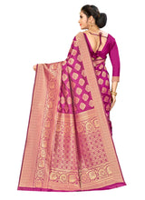 Load image into Gallery viewer, Generic Women's Banarasi silk Saree with Blouse (Wine, 5-6mtr)
