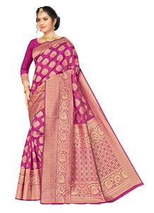 Generic Women's Banarasi silk Saree with Blouse (Wine, 5-6mtr)