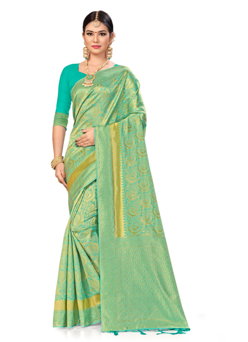 Generic Women's Banarasi silk Saree with Blouse (Sky blue, 5-6mtr)