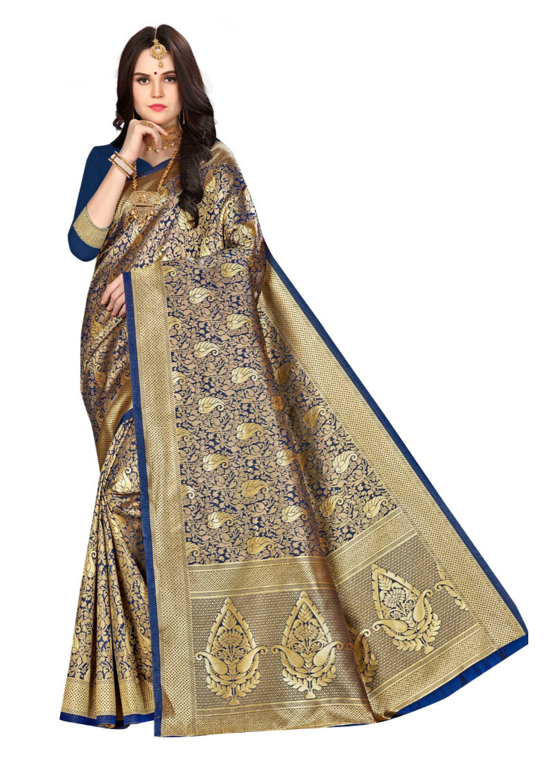 Generic Women's Banarasi silk Saree with Blouse (Navy blue, 5-6mtr)