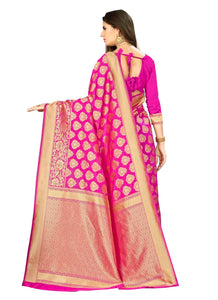 Generic Women's Banarasi silk Saree with Blouse (Pink, 5-6mtr)