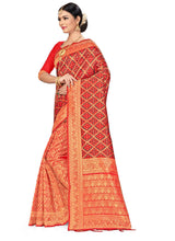 Load image into Gallery viewer, Generic Women's Banarasi silk Saree with Blouse (Red,black, 5-6mtr)