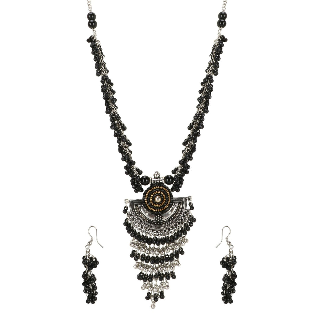 Designer Afgani German Silver Oxidized Necklace Set with Earrings