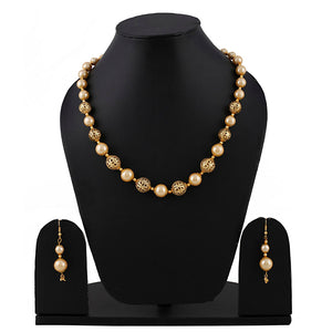 Pearl Golden Necklace With Earrings