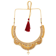 Load image into Gallery viewer, Gold Plated Copper Traditional Designer Temple Coin Necklace with Earrings