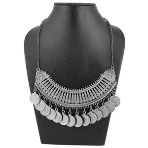 Alloy Tribal Design Oxidized Silver Coin Necklace in Antique Finish