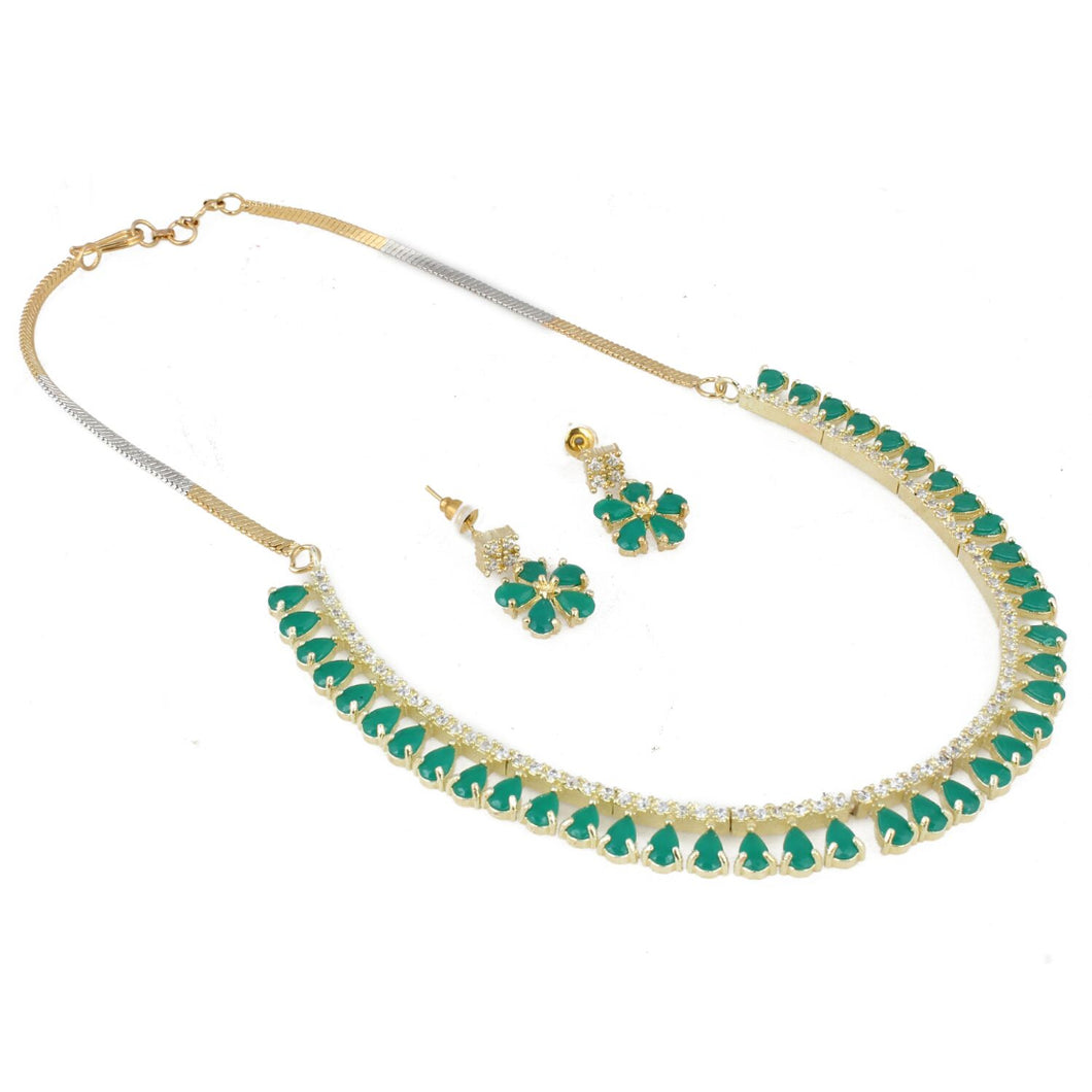 Designer Diamond Gold Plated Necklace Set with Earrings