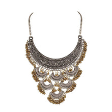 Load image into Gallery viewer, Designer Antique Oxidized Golden Ghunroo and Silver Fancy Necklace Fashion Jewellery