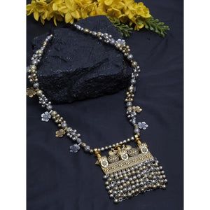 Afghani Dual Tone Designer Turkish Style Vintage Silver Oxidised Necklace